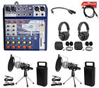 2 Person Podcasting Podcast Kit Soundcraft Mixer+Headphones+Mic+Stand
