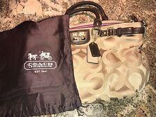 Coach Brown Signature Purse Handbag Zipper Tote Bag