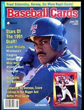 Baseball Cards Magazine August 1992 Juan Gonzalez w/Mint Cards jhscd4