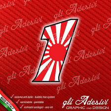 Adesivo Stickers NUMERO 1 moto auto cross gara JAPAN 5 cm