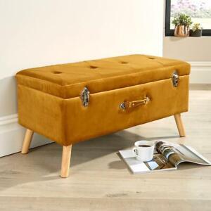 James Velvet Mustard Ottoman Storage Box Pouffe Stool Footstool Storage Bench