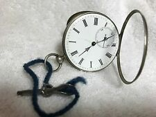 VYG FRENCH AIGUILLES KEY WIND POCKET WATCH SILVER CASE, ENAMEL FACE, FREE SHIP