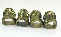 Brass Turkey Thanksgiving Holiday Gobbler Napkin Ring Holders Set of 4