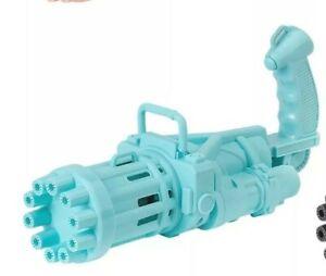 Outdoor Gatling Bubble Machine Bubbler Maker Automatic Bubble Toy Gun Kids Blue