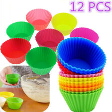 12Pcs Silicone Cup Cake Cases Muffin Cupcake Bun Muffin Baking Mold Decorating