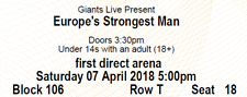 Europe's Strongest Man - 2 Tickets Level 1 Seats