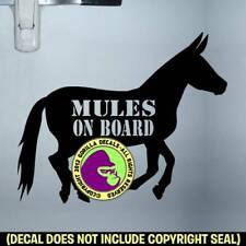 Mules On Board Body Decal Sticker Caution Horse Horse Trailer Back Door Sign Blk