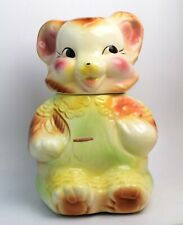 Vintage 1940's American Bisque Bear Cookie Jar Collectible Made in the USA