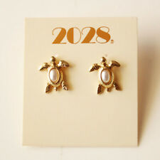 New 2028 Faux Pearl Sea Turtle Stud Earrings Gift Fashion Women Party Jewelry FS