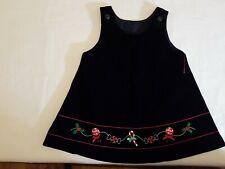 Baby Girl Black Velvet Christmas Jumper Dress Sz 12M Euc