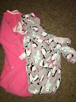 Lot Of 2 Carters Girls Fleece Footed Sleepers Size 24 Months