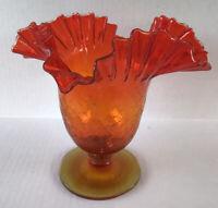 Mid Century Blenko Art Glass Orange Crackle Glass Ruffled Edge Vase Compote