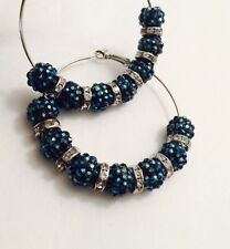 Shamballa Blue HOOP EARRINGS