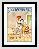 TRAVEL BELGIAN WATERING PLACES BEACH SEA BELGIUM FRAMED ART PRINT MOUNT B12X7914