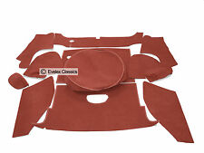 MGB ROADSTER 11 PCE BOOT CARPET SET DAMASK RED  CARRELLI WITH HESSIAN BACKING