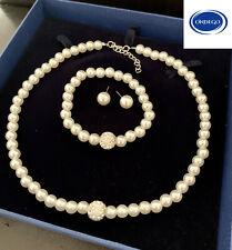 COLLIER Brautschmuck Schmuckset Kette Hochzeit Perlenkette Perle Armband Braut