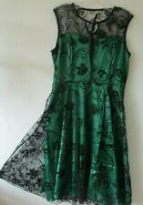 LINDY BOP DRESS Emerald GREEN Black LACE SATIN 1950s Swing  12 NEW