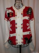 UGLY CHRISTMAS SWEATER S Small Red Crochet Cardigan White Vintage Glitter