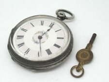 VICTORIAN KEY WOUND LADIES SILVER FOB WATCH, NEEDS A SERVICE