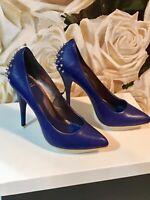 Alexander McQueen Heels Blue & Silver Spike Pumps - Size EU 40 NEW