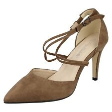 Anne Michelle F1R0551 Ladies Taupe Microfiber Pointed Court Shoes (R7A)