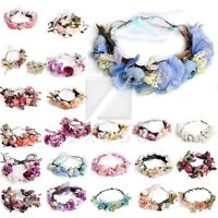 Hot Garland Wreath Floral Flower Crown Adjustable Headband Wedding Bridal Shower