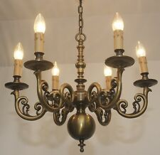 barroco estilo Antiguo Araña de Cristal Latón Techo Lámpara Vtg 6.fl Araña viejo