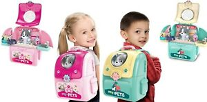 Vet Toy Pet Care Kit Role Play Set Grooming Feeding Dog Animal Games Backpack
