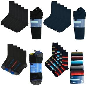 M&S Mens Socks New 5-Pack Casual Office Activewear Sports Cotton Rich Ankle Calf