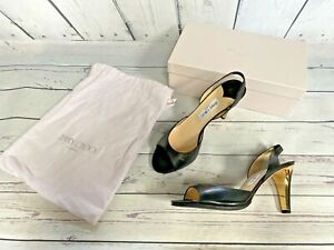 £450 JIMMY CHOO Shoes, Leather Summer Sandals, Black High Heel Shoes, Size 8, 41