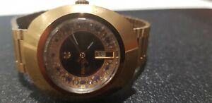 Vintage RADO Diastar Auto Gold & Black Dial Day Date Men's Watch Serviced VGC