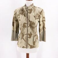 XCVI Womens Size Small Top Jacket Zip Up Long Sleeve Camo Print Lightweight