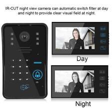 RFID 7'' LCD Video Sprechanlage Klingel Gegensprechanlage Kamera 2 Familienhaus