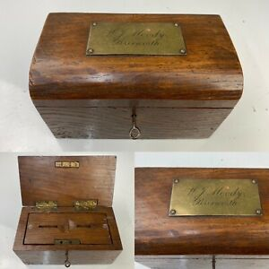 Antique Solid Oak Church Offering Collection Box, Brass, Lockable JU53#