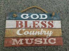 God Bless Country Music Wooden Sign - New with Tags