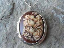 HAND PAINTED - 3 GENERATIONS - SISTERS - FRIENDS, MOTHER, DAUGHTER -CAMEO LOCKET