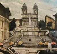 Hugo Renyi (18xx-19xx) - Top - Farbradierung 1930: ROMA TRINITÀ DEI MONTI