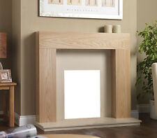 """GAS ELECTRIC OAK WOOD SURROUND CREAM MARBLE WALL FIRE FIREPLACE SUITE  LARGE 54"""""""