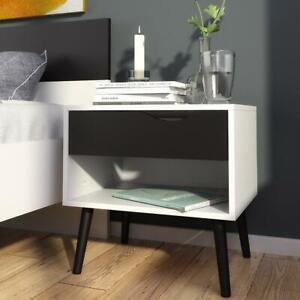 White/Black Scandinavian Design Bedside Nightstand.Black Angled Solid Wood Legs.