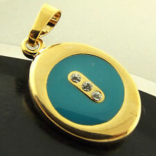 A297+A295 GENUINE 18K YELLOW G/F GOLD DIAMOND SIMULATED LADIES TURQUOISE PENDANT