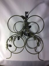 Wine Bottle Rack  4 Bottles With Olive Accents Green