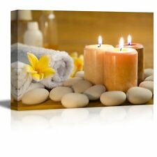 "Canvas Prints Wall Art - Zen Stones with Burning Candles in a Spa- 12"" x 18"""