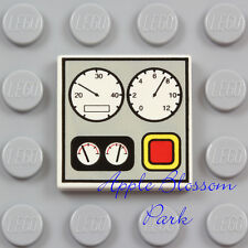 NEW Lego TRAIN DASHBOARD TILE White 2x2 Minifig Engine Control Gauge Panel 10020