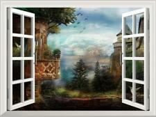3D Window View Fantasy Forest Castle Removable Sticker Wall Decals 51*72cm
