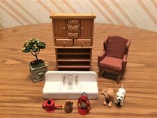 "Miniature Doll House Items Including ""The Kitchen Sink"" (Set of 9) 1:12 Scale"