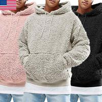 NEW Men Warm Hoodie Fluffy Fleece Hooded Jacket Casual Sweatshirt Pullover Coat