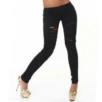 Womens Skinny Jeans Top Ladies Trouser Black White Denim Pant Size 6 8 10 12 14