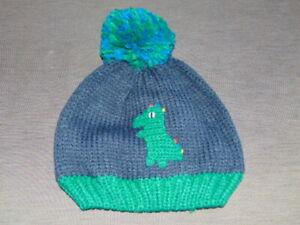 M&S Hat Knitted 'Dinosaur' Fleece Lined w/Pom-Pom 18-36m 3-6yr Navy Mix BNWT