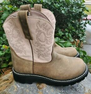 Ariat Fatbaby Brown w/ Pink Suede Leather Western Boots Women's size 6.5 M