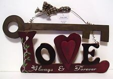 LOVE ALWAYS & FOREVER KEY WOOD VALENTINES DAY SIGN DECORATION